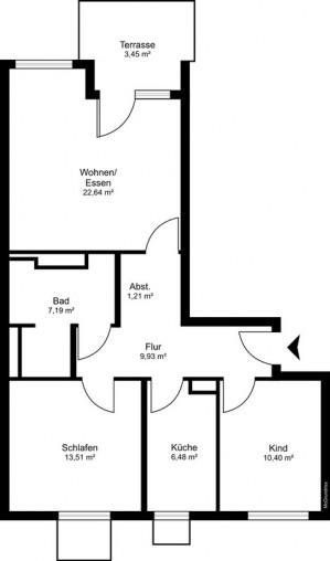 Grundriss einer großen ebenerdigen Wohnung